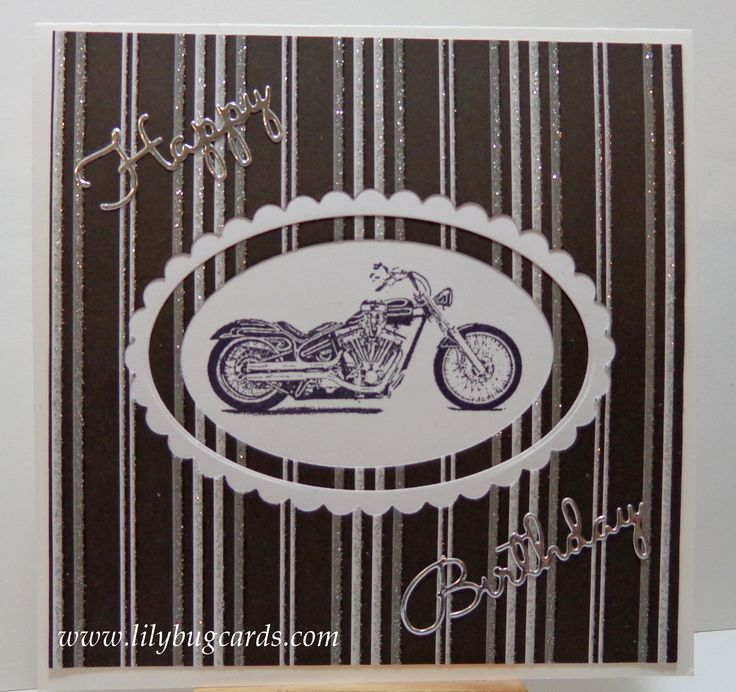 Inset Motorcycle stamped and a bit of shimmer for a special number birthday for a rider.