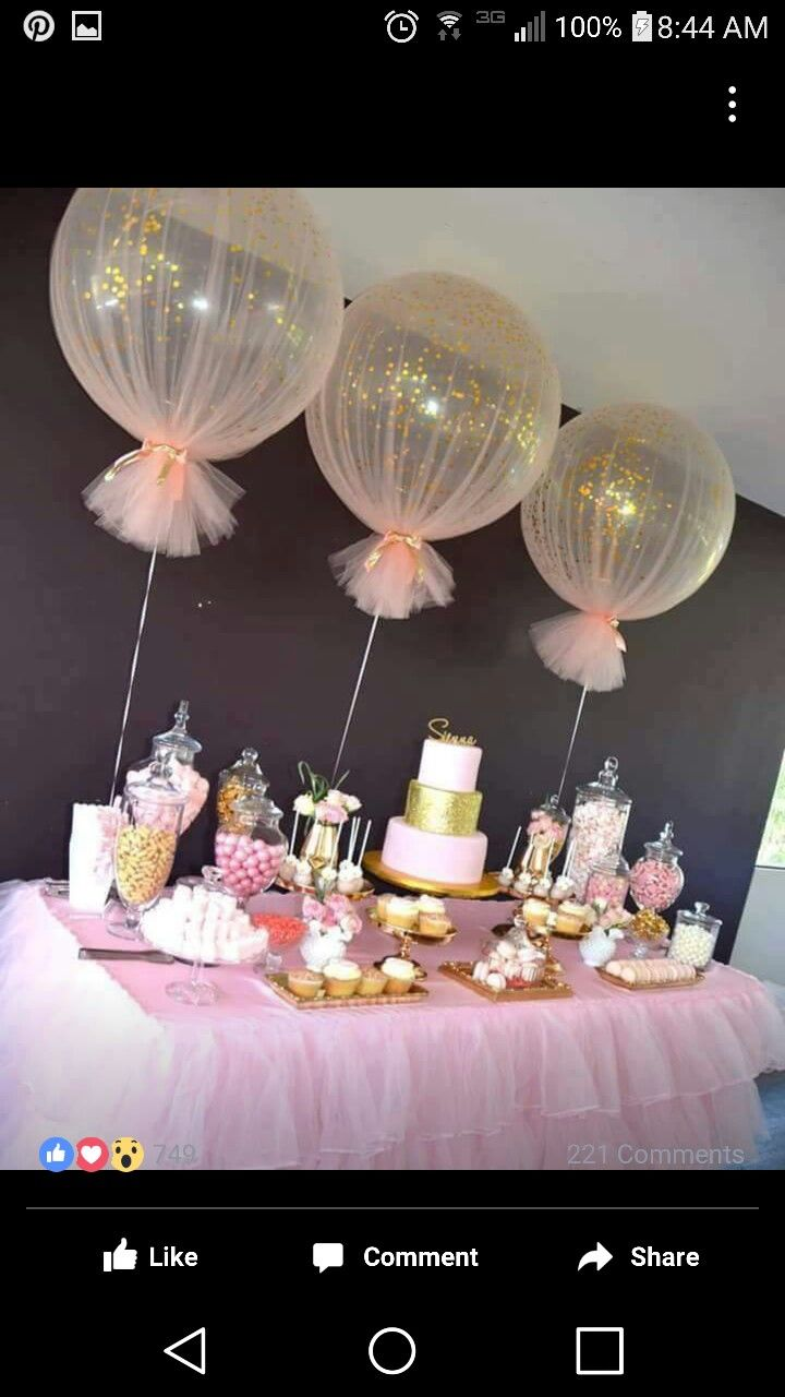 Balloons wrapped in tulle for party decor More