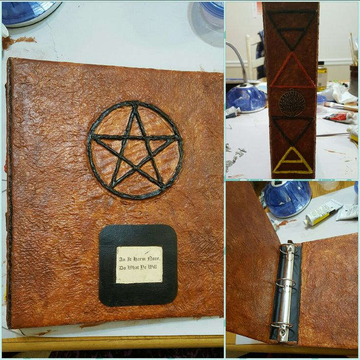 DIY Witch's Book of Shadows using 3 ring binder, modge podge, paper towels, glue gun, and paint.