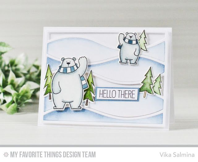 Polar Bear Pals Stamp Set and Die-namics, Beast Friends Stamp Set and Die-namics, Horizontal Snow Drifts Cover-Up Die-namics - Vika Salmina  #mftstamps