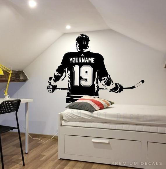Hockey Wall Art Custom Name Hockey Decal Right Handed Etsy Hockey Decals Hockey Wall Art Custom Wall Art