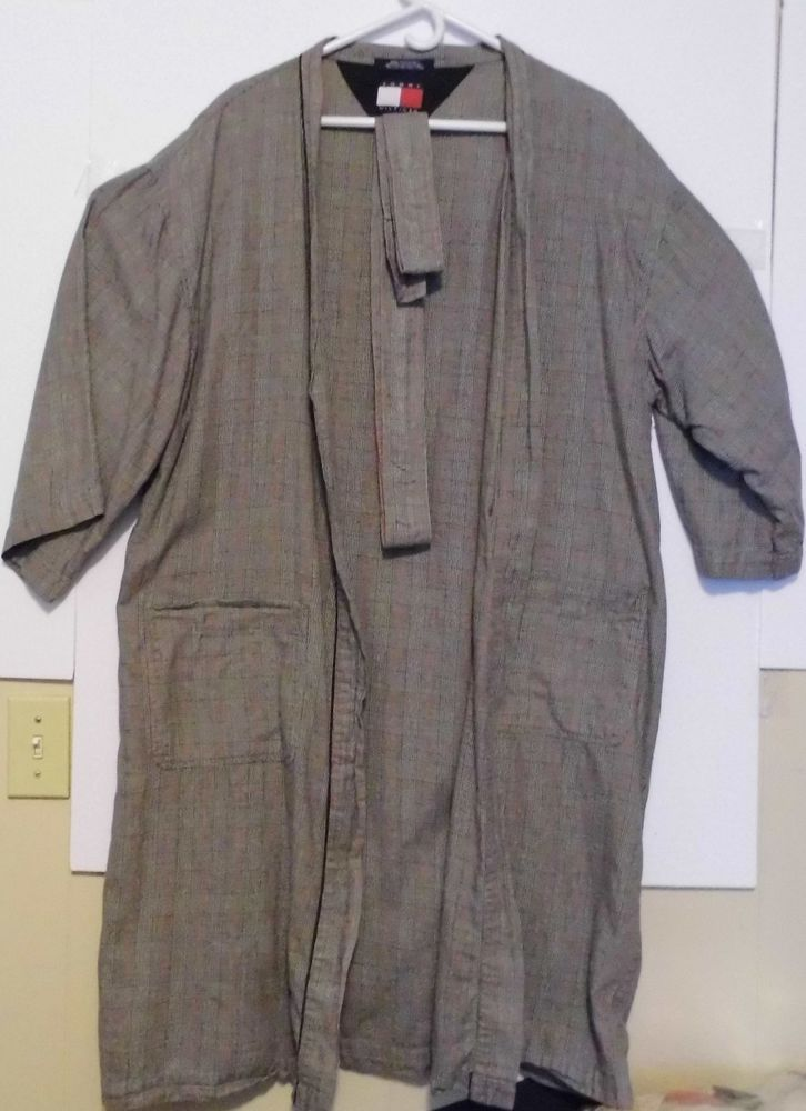 d161379cf0478 Tommy Hilfiger Mens Multi Colored Plaid Robe One Size Retro w  belt 100%  Cotton  TommyHilfiger  Robes