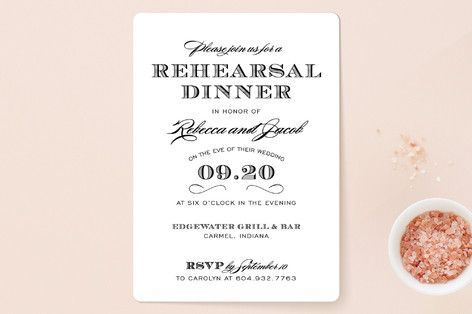 """""""Soiree"""" - Rehearsal Dinner Invitations in Tuxedo by Sarah Brown."""