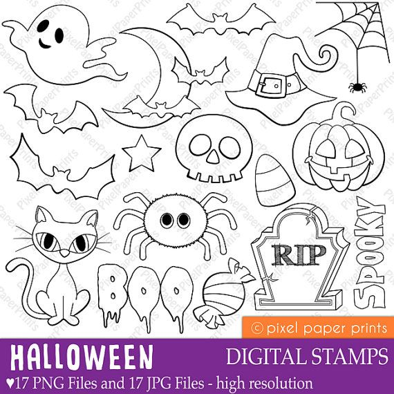 Halloween elements Digital stamps от pixelpaperprints на Etsy