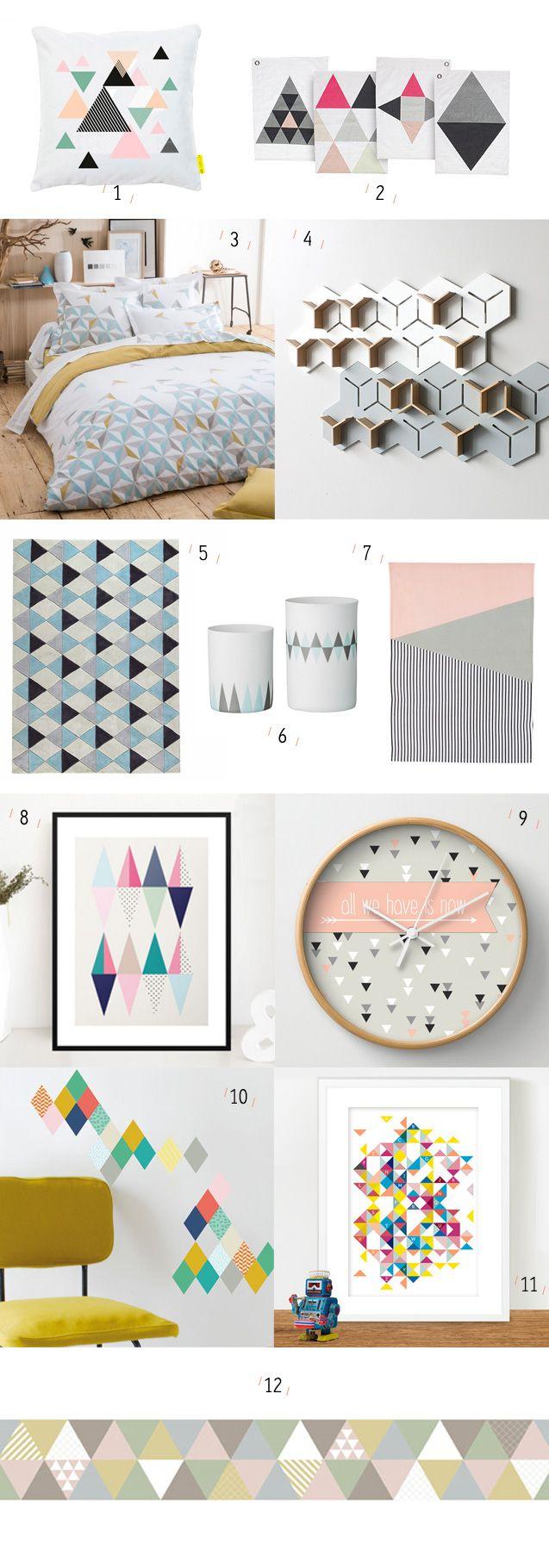 Déclinaisons de triangle dans toutes ses formes en décoration - Inspiration scandinave et vintage, motifs géométriques, dans toutes les pièces de la maison.