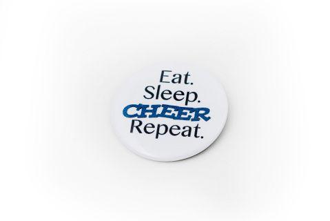 Eat Sleep Cheer Repeat Button #Cheerific.ca #Cheer #Cheerleading #Cheermerchandise #Buttons