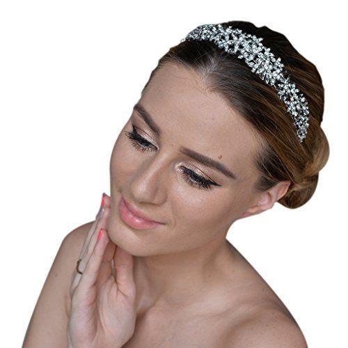 EVER FAITH Women's Austrian Crystal Wedding Flower Cluster Hair Band Clear EE3UdxbD7
