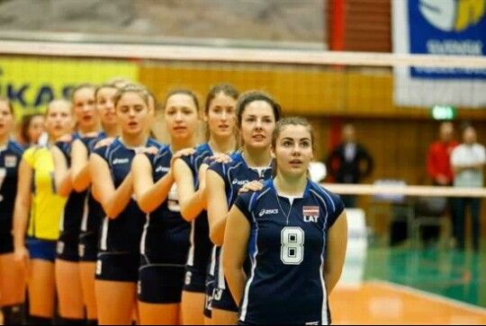 Team Latvia sings the national anthem at the qualifier for the 2014 CEV U19 Volleyball European Championship - Women