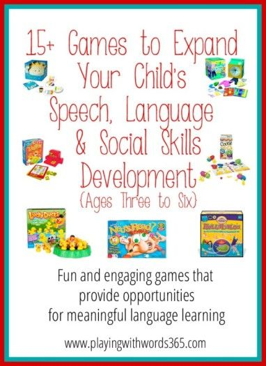 Playing with Words 365: 15+ Great Games for Speech, Language & Social Skills Development {ages 3-6}. Pinned by SOS Inc. Resources. Follow all our boards at pinterest.com/sostherapy for therapy resources.
