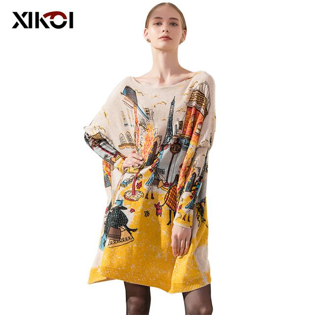 For Sale $17.27, Buy New 2017 Autumn Casual Long Women Sweater Coat Batwing Sleeve Loose Women's Sweaters Clothes Pullovers Fashion Pullover Clothing