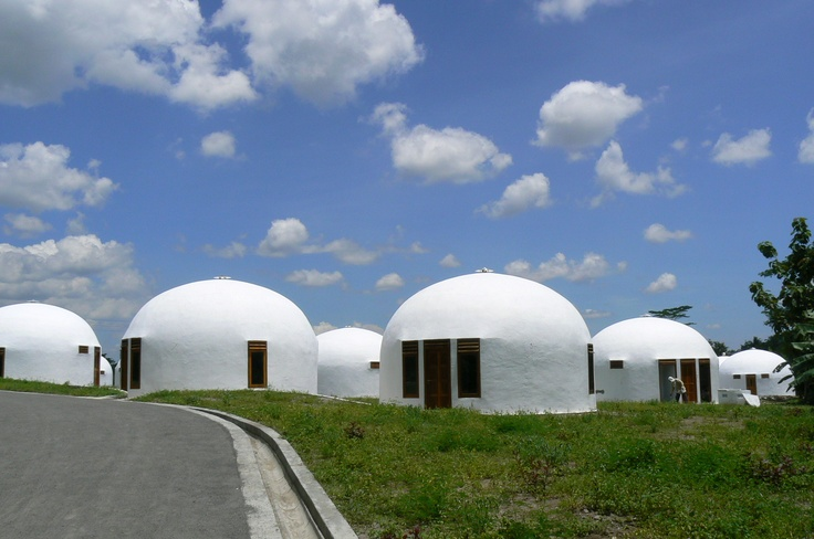 """Rumah Teletubbies or Dome Houses Complex is situated in Dusun Nglepen. The Dome House was actually built as a reaction to the 2006's earthquake  that had ruined Yogyakarta and some other surrounding areas. Nowadays, the Dome House residents call their complex """"the New Nglepen Village"""".  http://www.goindonesia.com/id/indonesia/jawa/yogyakarta/kegiatan_wisata_yogyakarta/rumah_teletubies_yogyakarta"""