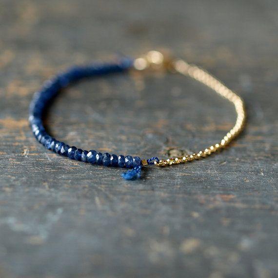 Bracelet Perles saphir bleu, Bracelet de pierres précieuses, or 14 k rempli Birthstone septembre chaine, Bracelet délicat,