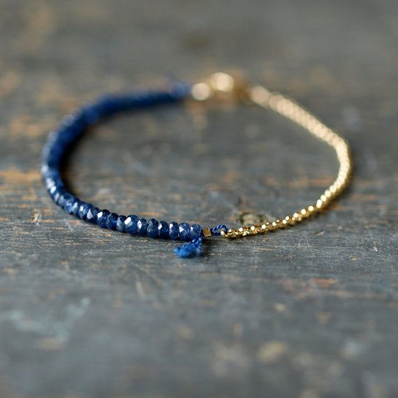 Blue Sapphire is so beautiful with gold beads- together they make a mystical looking delicate bracelet!