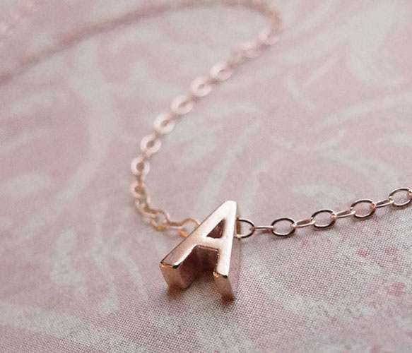 TINY ROSE GOLD INITIAL NECKLACE by Olive Yew