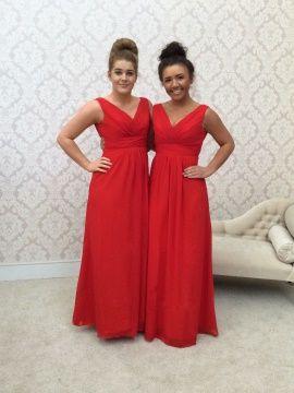Casual V-Neck Chiffon Floor-Length Multi-Color Bridesmaid Dress & petite Bridesmaid Dresses