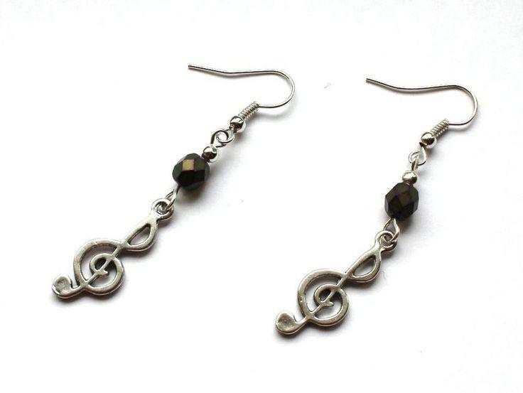 Kolczyki z kluczami wiolinowymi w Especially for You! na http://pl.dawanda.com/shop/slicznieilirycznie  #kolczyki #earrings #crystals #kryształki #handmade #DaWanda