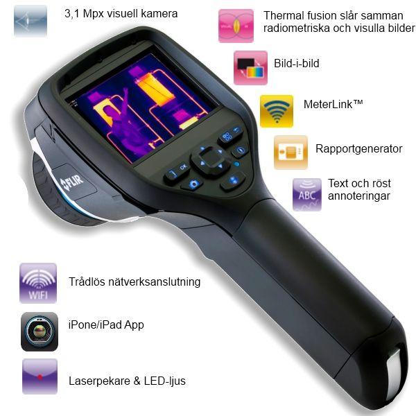http://www.termometer.se/Handinstrument/Varmekameror/FLIR-E60bx-med-WIFI-och-iPhone-iPadkommunikation.html  FLIR E60bx med WIFI och iPhone- / iPadkommunikation - Termometer.se  Speciellt framtagen för byggnads-/fastighetsinspektioner med extra hög känslighet, är FLIR E60bx är en värmekamera som via WIFI har möjlighet att kommunicera med en iPhone eller iPad. Via itunes laddar man bara ned gratisappen FLIR IR Viewer eller klicka på appen. FLIR E60bx är en sofistikerad infraröd kamera som...