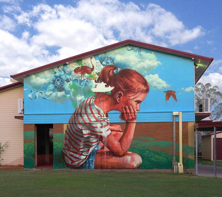 Best ART Street Art Graffiti Images On Pinterest - Artist paints incredible seaside murals balanced on surfboard