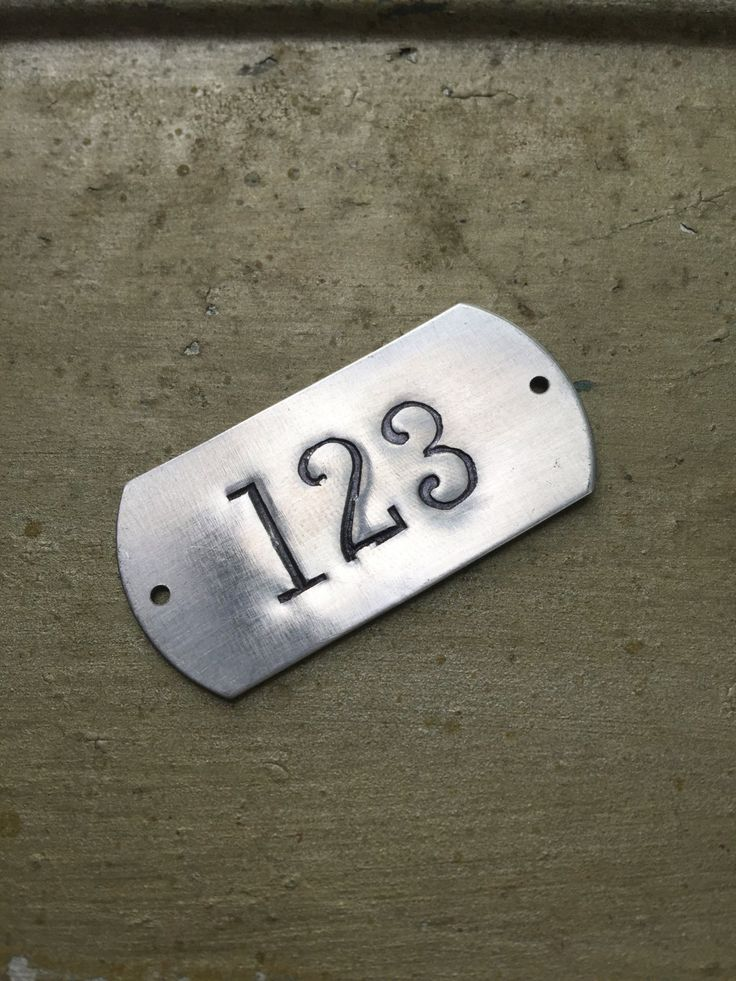 Hand punched aluminum ID numbered tags - Custom numbered locker tags - rectangle number plates - hotel room numbers  ***listing is for one (1) tag with with your choice of numbers, just make note when you checkout. With the punch set shown in the photo we can fit 3 numbers on a tag. If you need more numbers or want letters or other words message us for a custom quote*** We are offering something a bit different and using only authentic vintage and antique punch sets from our personal…