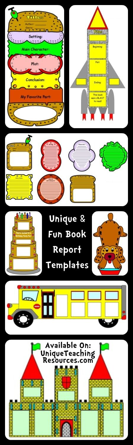 20+ Extra Large and Unique Book Report Project Templates - http://www.uniqueteachingresources.com/book-report-templates.html