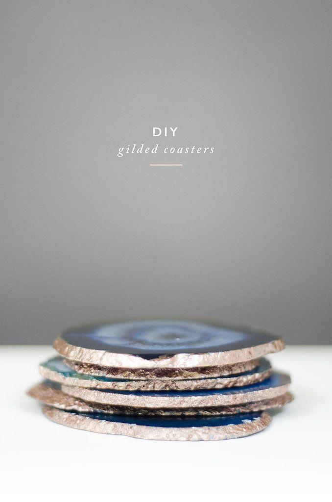 DIY Gold Agate Coasters | POPSUGAR Home