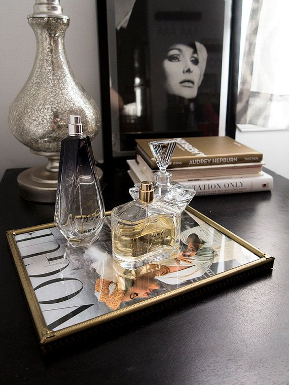 Vintage Parisian frame turned into a perfume tray using a 1950s Vogue Cover reprint. Get it now at www.etsy.com/shop/mookandbup