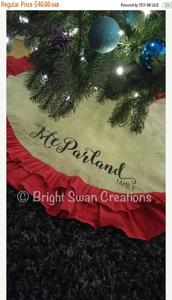 SALE Personalized Christmas tree skirt by BrightSwanCreations