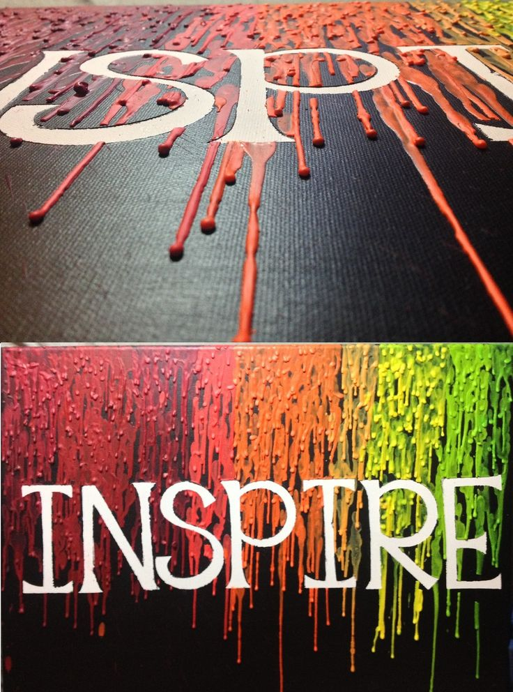 My version of melted crayon art. Cheap canvases, sticker letters, black acrylic paint, & crayons.