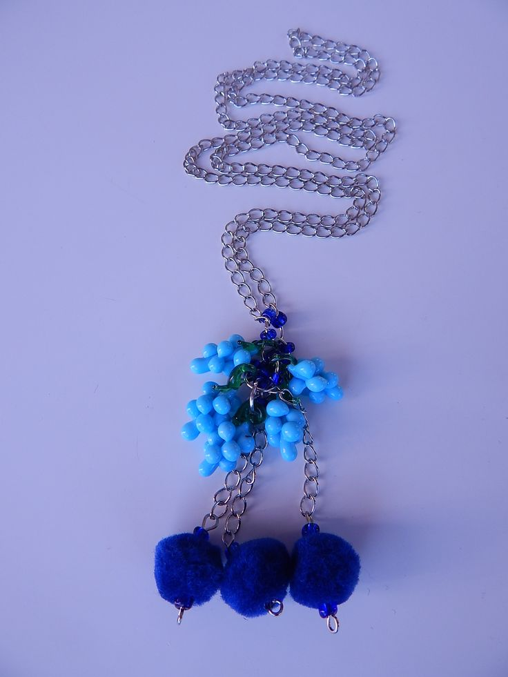 Long silver nacklace with babyblue glass grape #charms, and matching dark blue #fringes. Very uniq combination. www.ayaglass.hu