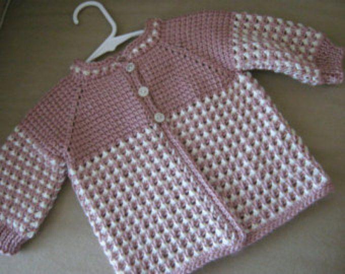 Suéter de niña rosa rosa blanco - hecho por encargo - ganchillo tunecino - hecho a mano del ganchillo