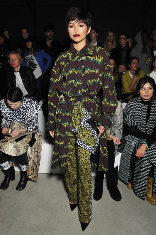 Kenzo lime green animal-print pants - The 20 edgiest Zendaya looks