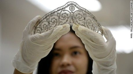 The Philippine government has approved the international auction of former first lady Imelda Marcos's jewelry collection, worth approximately $21 million. Prior to the auction the jewels and crowns will be on display for people to look at. The auction is to raise awareness for younger Fillipino citizens.