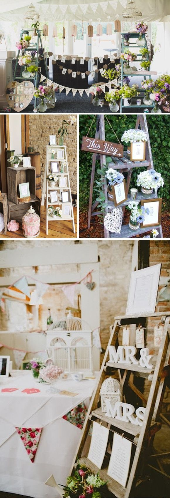 Ideas para decorar bodas con escaleras vintage: