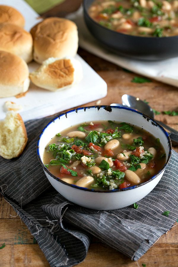 Easiest slow cooker quinoa, kale, and white bean soup
