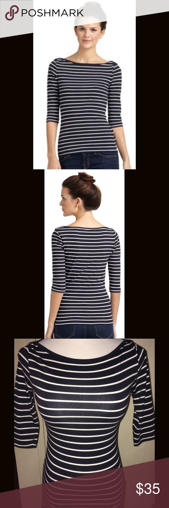 French Connection Striped Boatneck Top - Size XS French Connection Nautical Striped Boatneck Top in a Size XS.  Three-quarter length sleeves.  Like new/excellent condition! French Connection Tops
