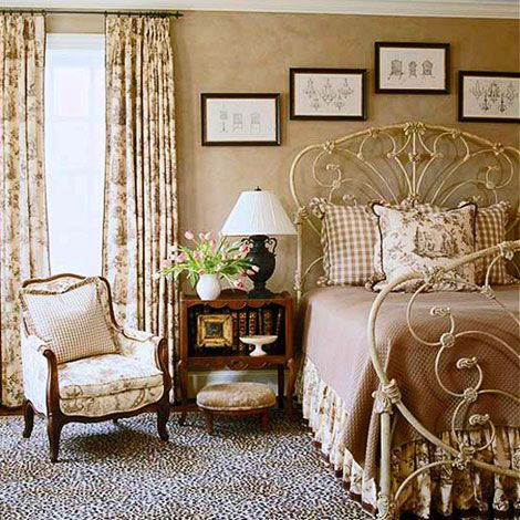 #decorating Beautifully romantic toile bedroom!!!  Don't think my husband would like it...  but I'd make the sofa real cozy for him!!!