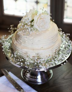 homemade buttercream wedding cake with fresh flowers - Google Search