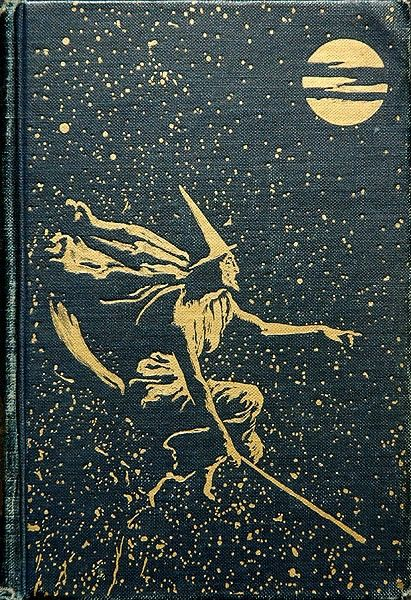 Vintage Book Cover ( Witch on Broomstick_
