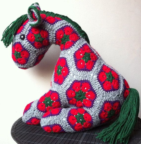 African Flower Pony Crochet Pony Plush Toy by BlackFishes ...