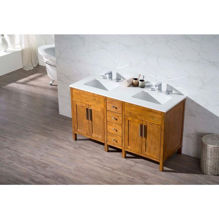 stufurhome Evangeline 59 in. W x 22 in. D x 33.5 in. H Vanity in Brown with Quartz Vanity Top in White and Basins-TY-6343-59-QZ - The Home Depot
