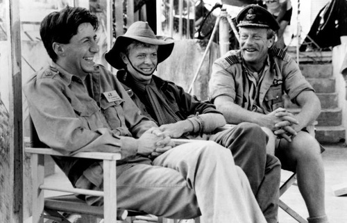 Tom Conti, David Bowie, and Jack Thompson on the set of Merry Christmas Mr. Lawrence