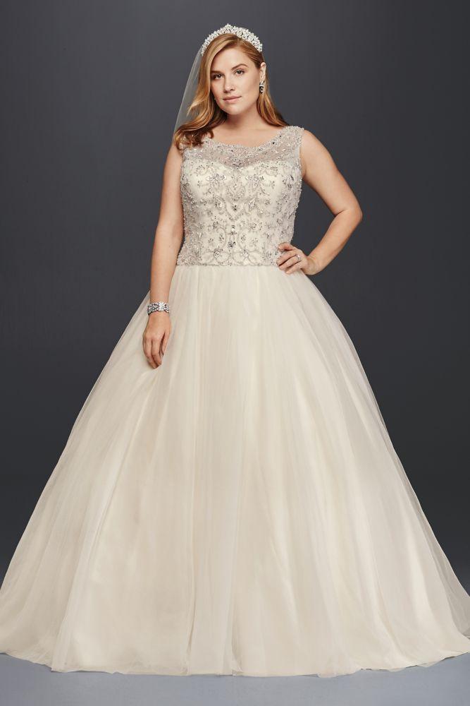 Tulle Oleg Cassini Plus Size Beaded Wedding Ball Gown Wedding Dress   Solid  White 529 best Plus Size Wedding Dresses images on Pinterest   Wedding  . Plus Size Wedding Dress Designers. Home Design Ideas