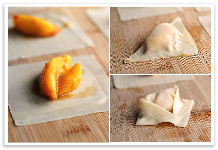 Peach Wontons...they're singing to my heart! YUM via @wearsmanyhats