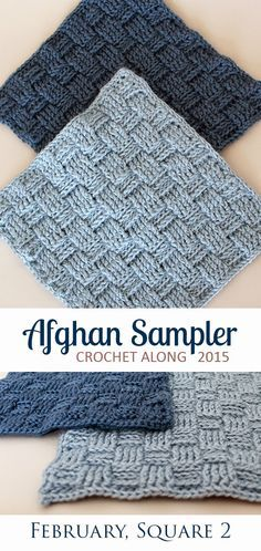 Basket Weave: Square 2 (February) of the 2015 Afghan Sampler -- Crochet along and have a finished blanket at the end of the year! | The Inspired Wren