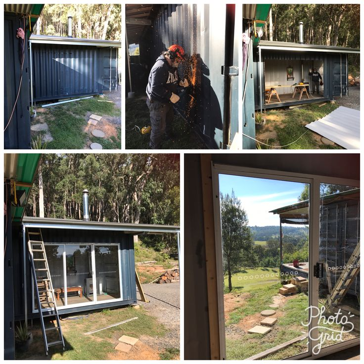 Recycling Second hand sliding doors for shipping container home guest quarters