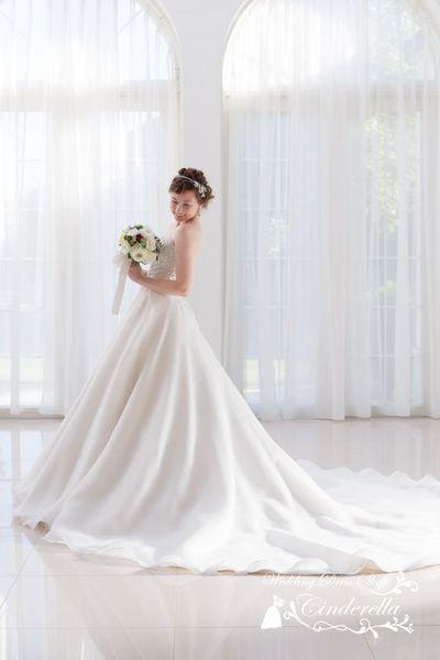 サテンオーガンジーのAラインのウェディングドレス SS5291|ウエディングドレスショップ シンデレラ(Wedding Dress Shop Cinderella) 写真・フォト...