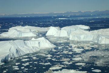 Greenland's Ice-Melt Models May Be Too Sunny Jakobshavn ice bergs