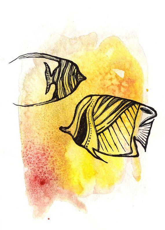 Pesci tropicali pittura pesci tropicali acquerello Angelfish pittura Angelfish acquerello Ocean Art oceano animali Reef pesce passafaro