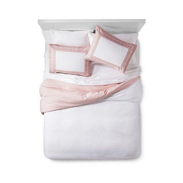 Border Print Duvet Set ($64) ❤ liked on Polyvore featuring home, bed & bath, bedding, duvet covers, pink, threshold duvet, pink pillow shams, king size duvet cover sets, king size bedding and king duvet