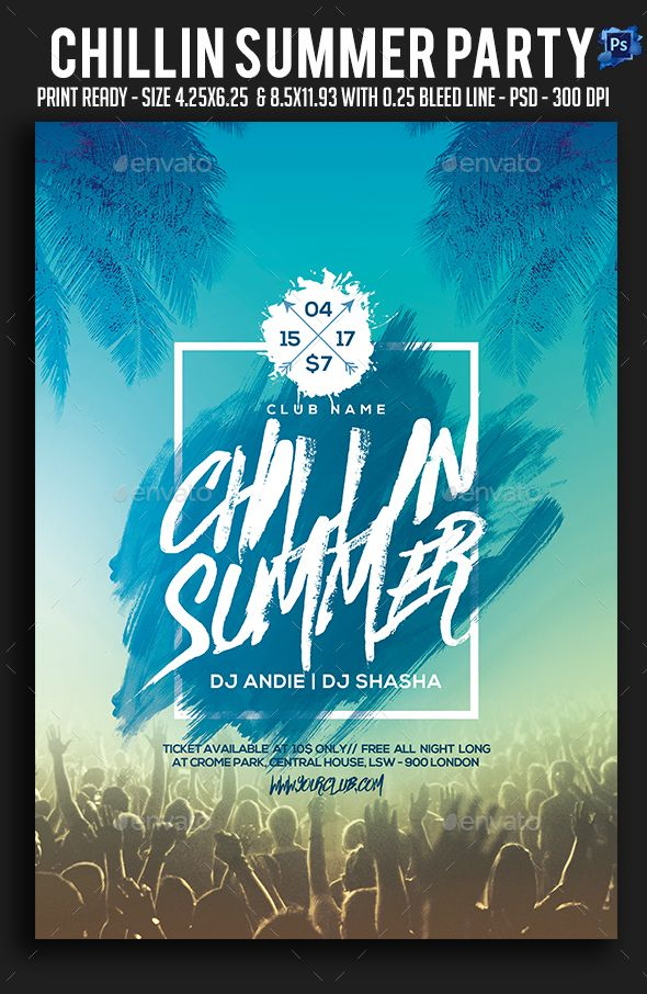 chillin summer party flyer template psd awesome summer party